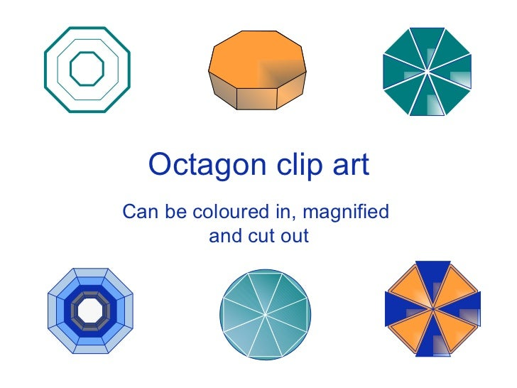 Octagon clip art Can be coloured in, magnified  and cut out