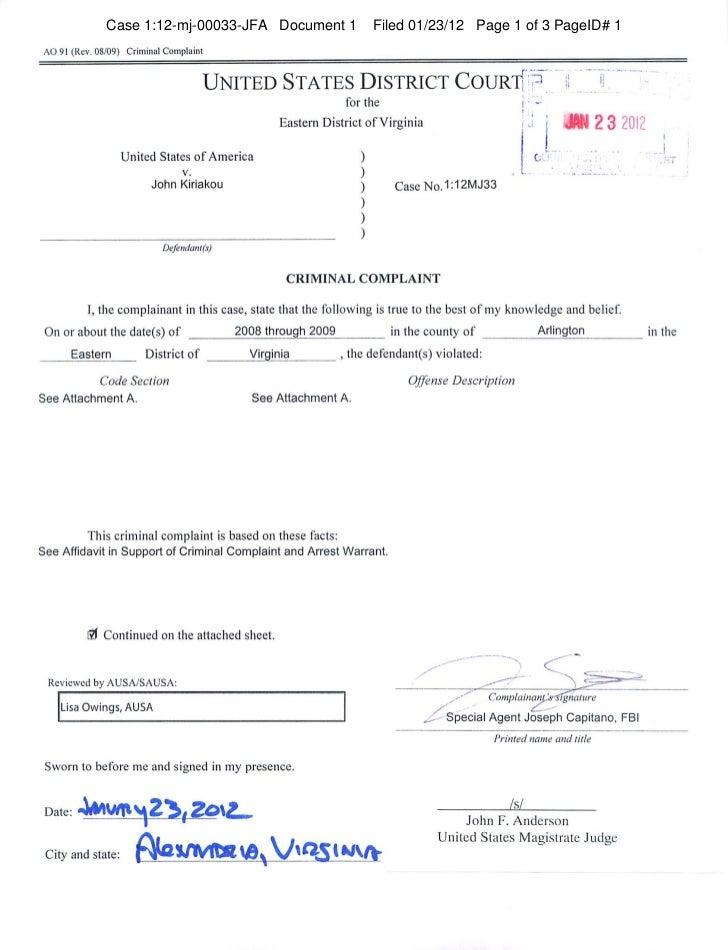 Case 1:12-mj-00033-JFA Document 1                        Filed 01/23/12 Page 1 of 3 PageID# 1 AO 91 (Rev. 08/09) Criminal ...