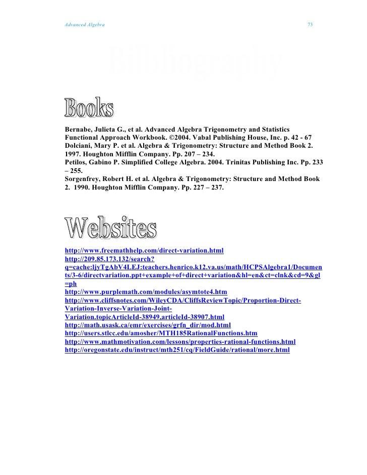 Advanced Algebra                                                               73Bernabe, Julieta G., et al. Advanced Alge...