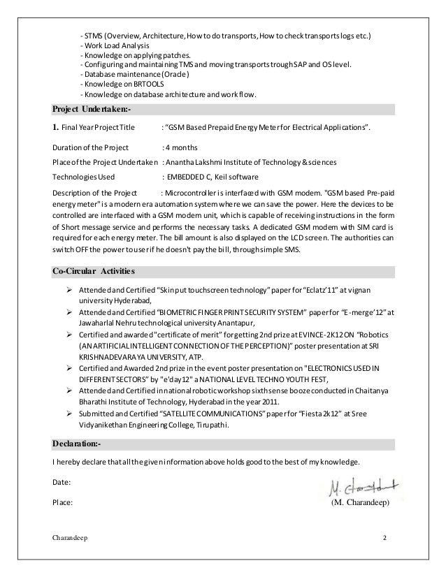 charandeep sap basis fresher resume