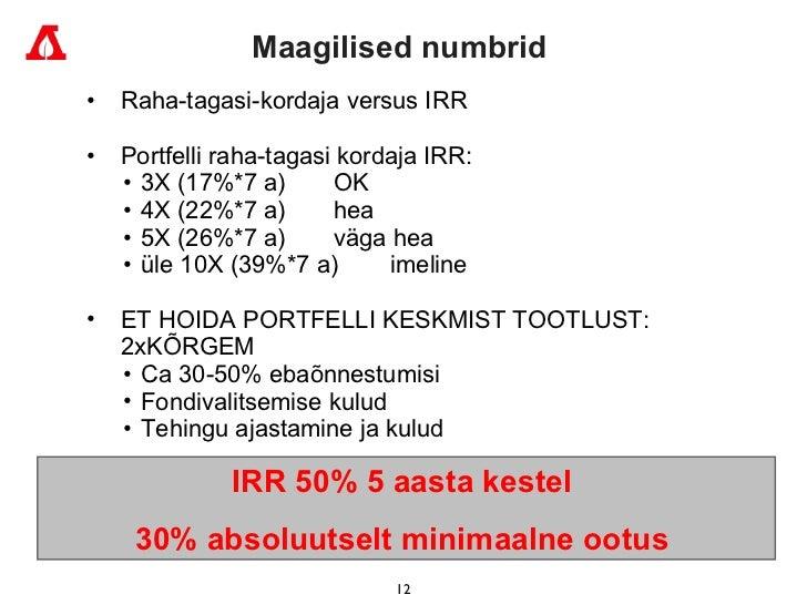 Ma agilised numbrid   <ul><ul><li>Raha-tagasi-kordaja  versus IRR  </li></ul></ul><ul><ul><li>Portf elli raha-tagasi korda...