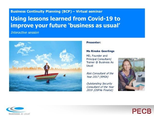Using lessons learned from Covid-19 to improve your future 'business as usual' First question: Who has been capturing less...
