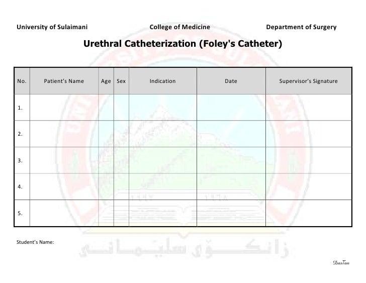 University of Sulaimani              College of Medicine          Department of Surgery                       Urethral Cat...