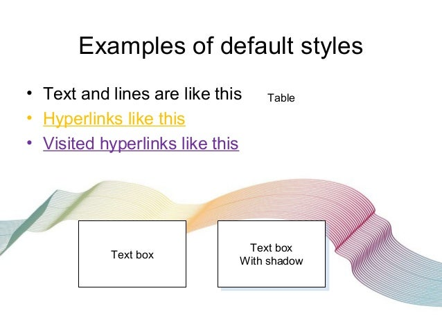 Examples of default styles • Text and lines are like this • Hyperlinks like this • Visited hyperlinks like this Table Text...