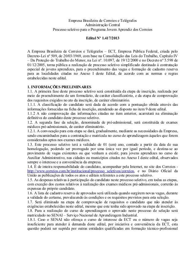 Empresa Brasileira de Correios e Telégrafos Administração Central Processo seletivo para o Programa Jovem Aprendiz dos Cor...