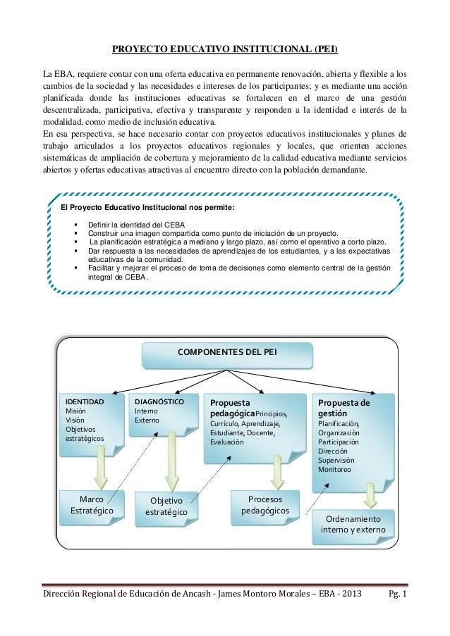 Dirección Regional de Educación de Ancash - James Montoro Morales – EBA - 2013 Pg. 1 PROYECTO EDUCATIVO INSTITUCIONAL (PEI...