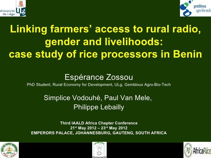 Linking farmers' access to rural radio,       gender and livelihoods:case study of rice processors in Benin               ...