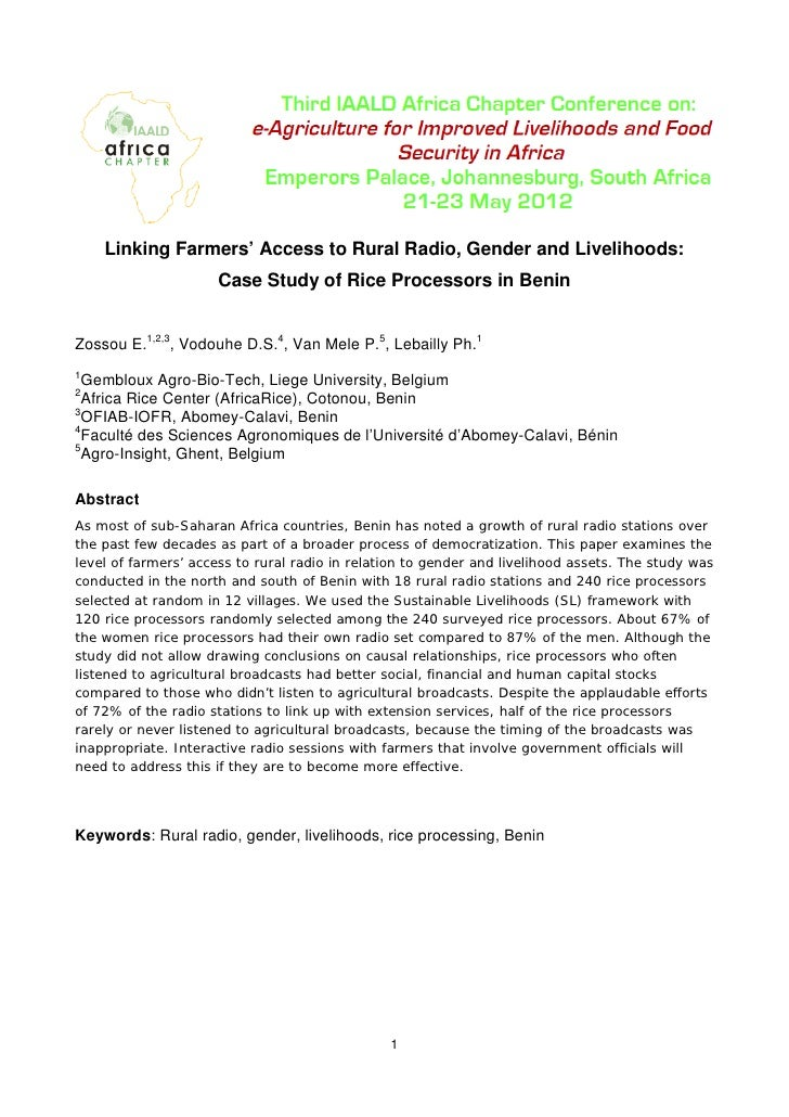 Linking Farmers' Access to Rural Radio, Gender and Livelihoods:                     Case Study of Rice Processors in Benin...