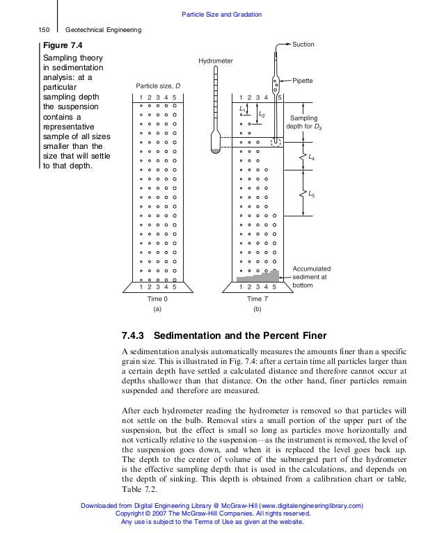 7.4.3 Sedimentation and the Percent Finer A sedimentation analysis automatically measures the amounts finer than a specifi...