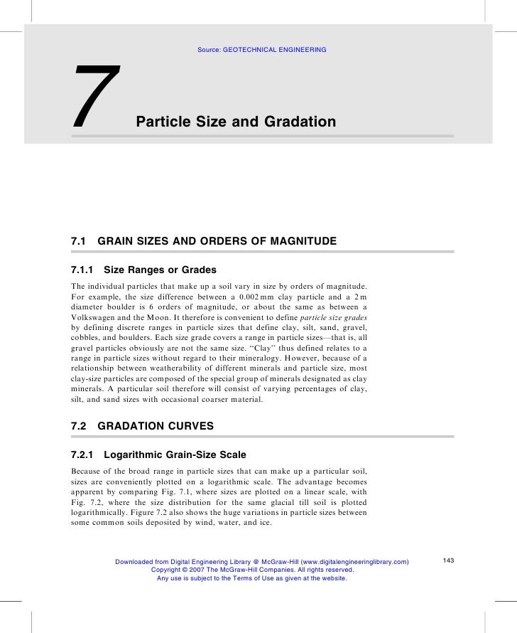 Source: GEOTECHNICAL ENGINEERING     7                 Particle Size and Gradation     7.1     GRAIN SIZES AND ORDERS OF M...