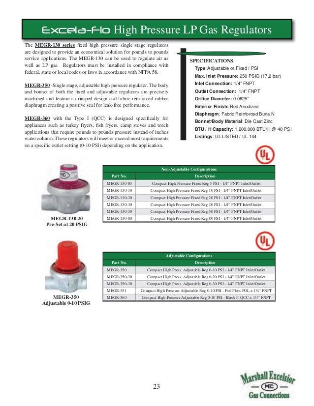 MARSHALL EXCELSIOR 1622-DFF LP PROPANE REGULATOR 10 PSI 9-13 WC LOW PRESSURE