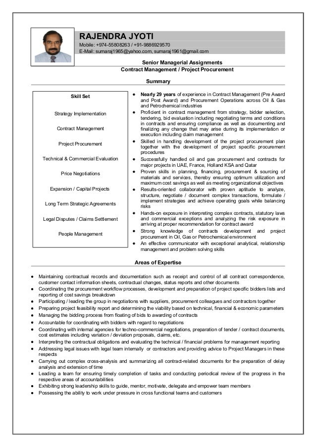oil and gas contract management Raj new resume 2015