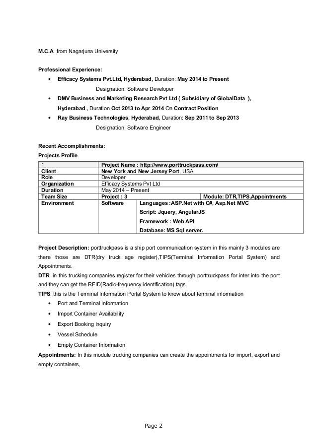M.C.A from Nagarjuna University Professional Experience: • Efficacy Systems Pvt.Ltd, Hyderabad, Duration: May 2014 to Pres...