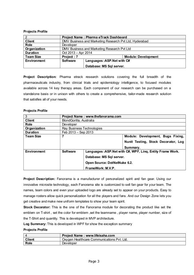 Projects Profile 2 Project Name : Pharma eTrack Dashboard Client DMV Business and Marketing Research Pvt Ltd, Hyderabad Ro...