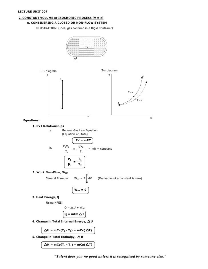 LECTURE UNIT 0072. CONSTANT VOLUME or ISOCHORIC PROCESS (V = c)    A. CONSIDERING A CLOSED OR NON-FLOW SYSTEM         ILLU...