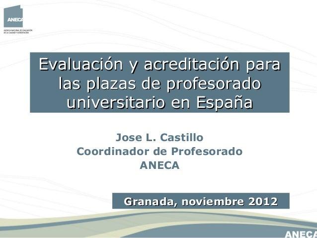 Evaluación y acreditación para  las plazas de profesorado   universitario en España          Jose L. Castillo    Coordinad...