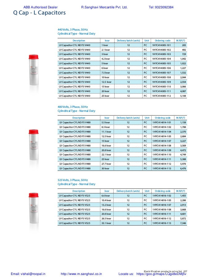 ABB Price List of Capacitors 008