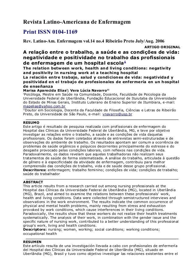 Revista Latino-Americana de Enfermagem Print ISSN 0104-1169 Rev. Latino-Am. Enfermagem vol.14 no.4 Ribeirão Preto July/Aug...
