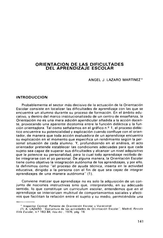 ORIENTACION DE LAS DIFICULTADES                 DEL APRENDIZAJE ESCOLAR                                                  A...
