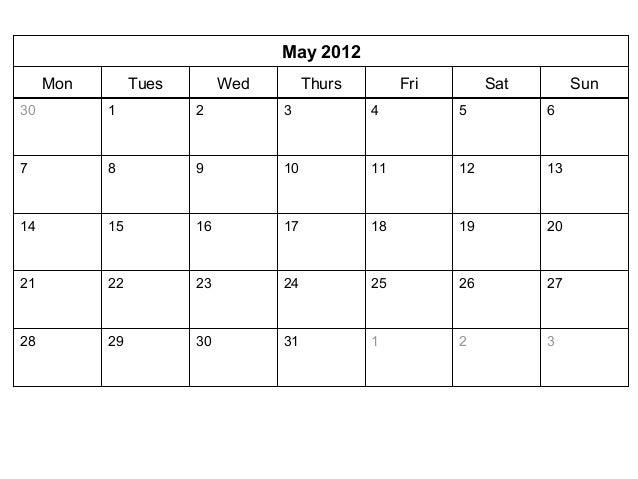00839 2012 Monthly Calendar Template