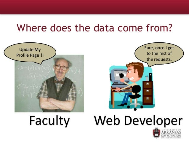 Update My Profile Page!!! Faculty Web Developer Sure, once I get to the rest of the requests. Where does the data come fro...