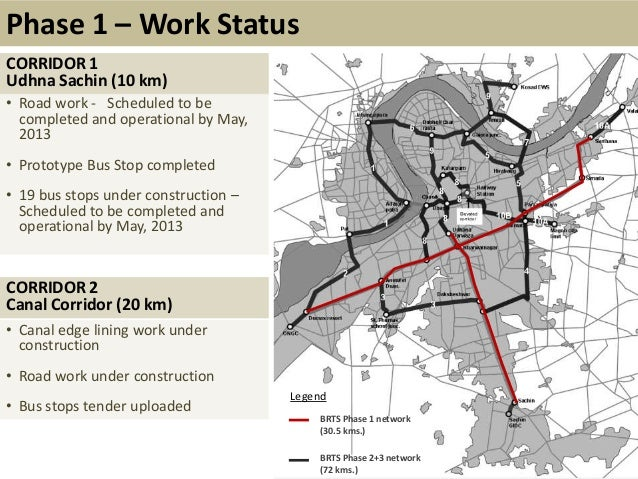Wide RoadsPhase 1 – Work StatusCORRIDOR 1Udhna Sachin (10 km)• Road work - Scheduled to becompleted and operational by May...