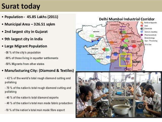 Surat today• Population - 45.85 Lakhs (2011)• Municipal Area – 326.51 sqkm• 2nd largest city in Gujarat• 9th largest city ...