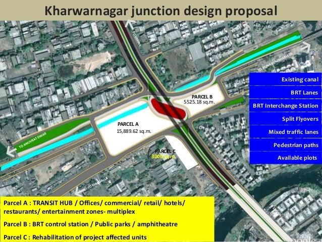 Existing canalBRT LanesBRT Interchange StationSplit FlyoversMixed traffic lanesPedestrian pathsAvailable plotsKharwarnagar...