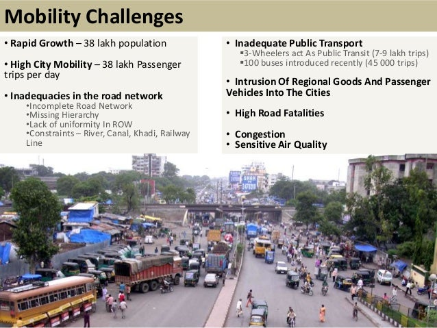 • Rapid Growth – 38 lakh population• High City Mobility – 38 lakh Passengertrips per day• Inadequacies in the road network...