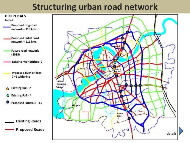 Existing RoadsProposed RoadsLegend:HaziraIndustrialEstateAirportSuratRly. stnAmroliSarthanaSachinGIDCProposed ring roadnet...