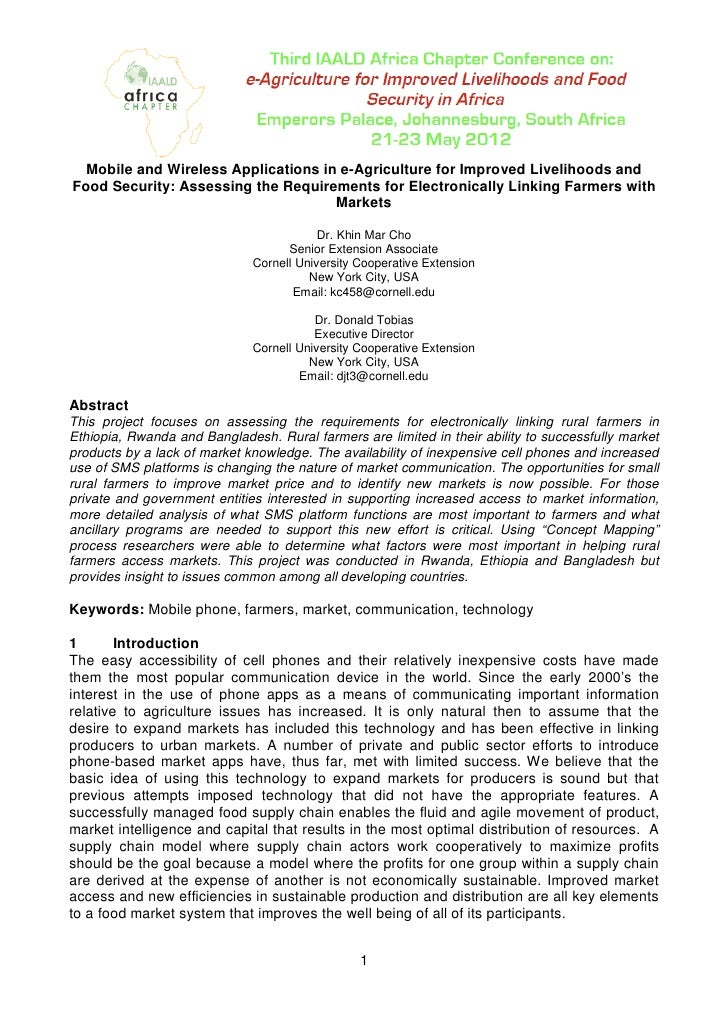 Mobile and Wireless Applications in e-Agriculture for Improved Livelihoods andFood Security: Assessing the Requirements fo...