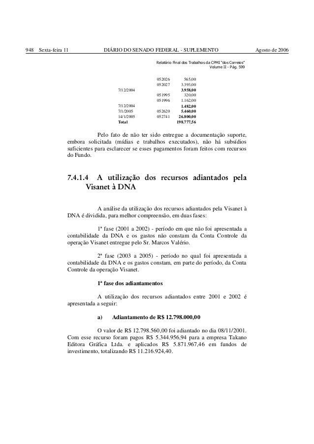 """948 Sexta-feira 11 938  DIÁRIO DO SENADO FEDERAL - SUPLEMENTO Relatório Final dos Trabalhos da CPMI """"dos Correios"""" Volume ..."""
