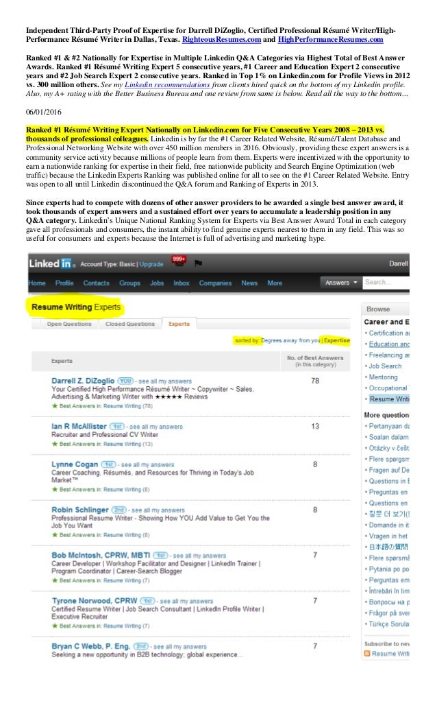 Proof Of Expertise Via Linkedin 2014