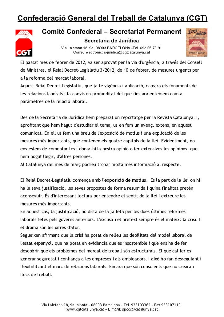 Confederació General del Treball de Catalunya (CGT)           Comitè Confederal – Secretariat Permanent                   ...