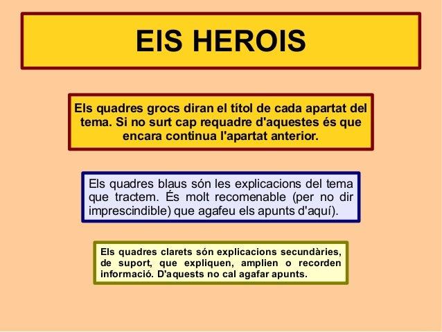ElS HEROISEls quadres grocs diran el títol de cada apartat del tema. Si no surt cap requadre daquestes és que        encar...