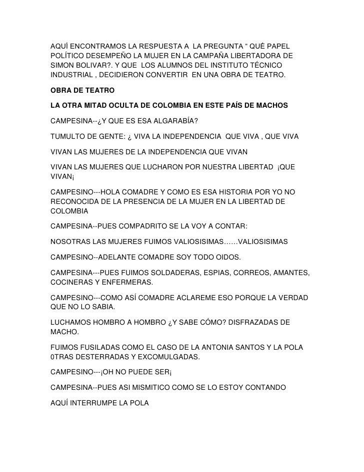 """AQUÍ ENCONTRAMOS LA RESPUESTA A  LA PREGUNTA """" QUÉ PAPEL POLÍTICO DESEMPEÑO LA MUJER EN LA CAMPAÑA LIBERTADORA DE SIMON BO..."""