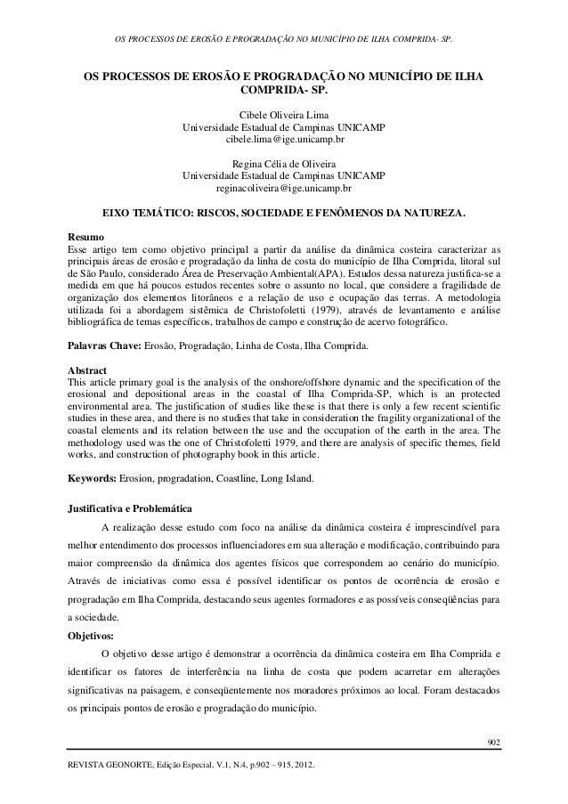 OS PROCESSOS DE EROSÃO E PROGRADAÇÃO NO MUNICÍPIO DE ILHA COMPRIDA- SP. 902 REVISTA GEONORTE, Edição Especial, V.1, N.4, p...