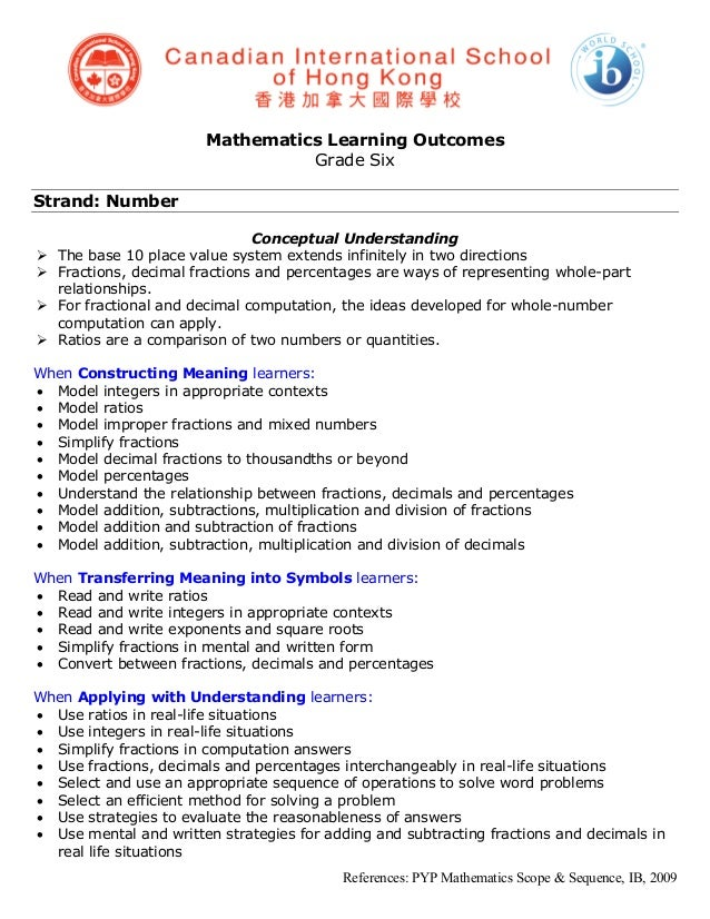 Mathematics Learning Outcomes                                  Grade SixStrand: Number                                Conc...
