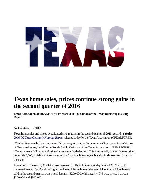 Super Texas Home Sales Prices Continue Strong Gains In The Second Download Free Architecture Designs Jebrpmadebymaigaardcom