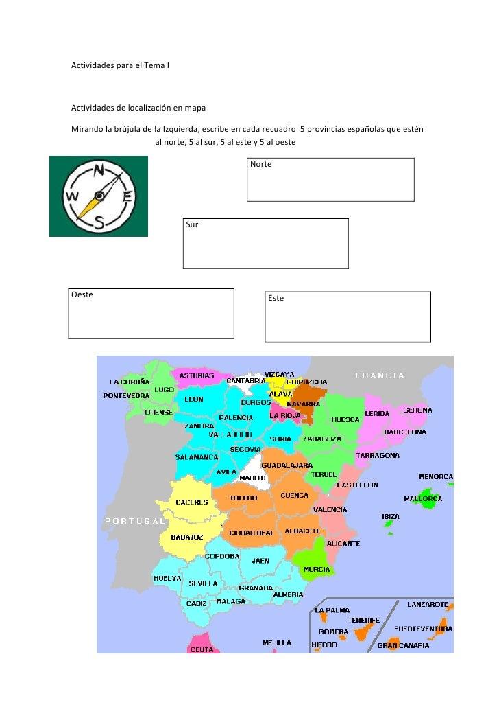 Actividades para el Tema I<br />Actividades de localización en mapa<br />-327660492760Mirando la brújula de la Izquierda, ...