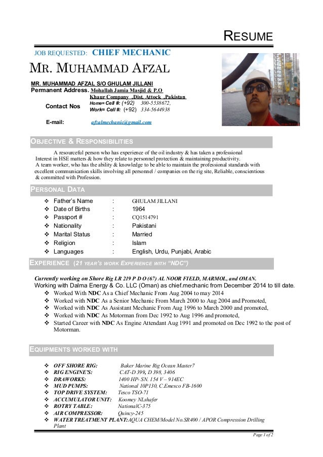 Afzal Chief Mechanic Cv 1