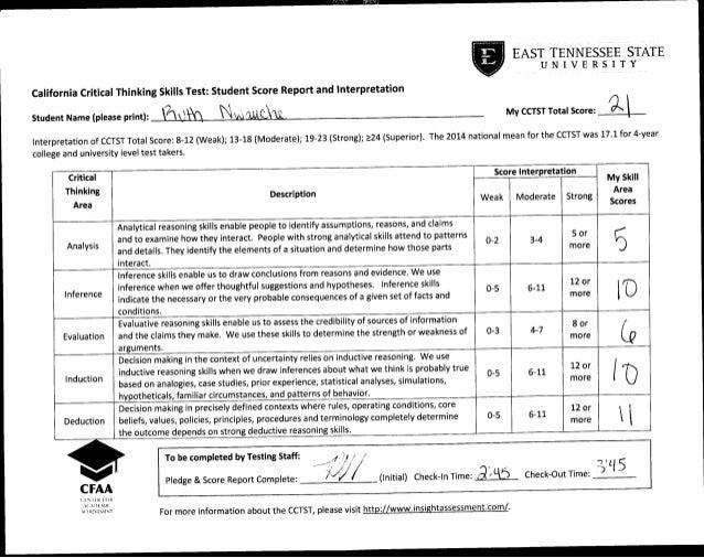 california critical thinking skills test (cctst)