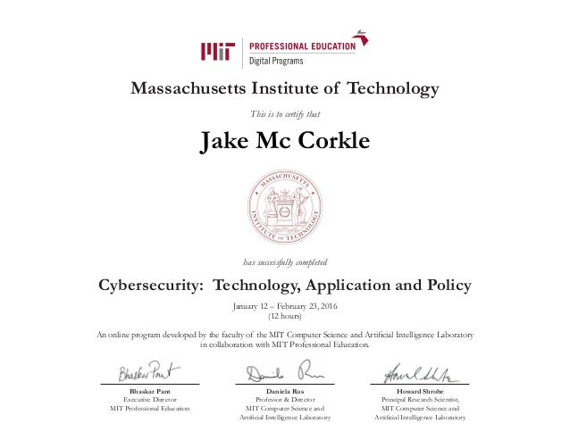 Certificate Mit