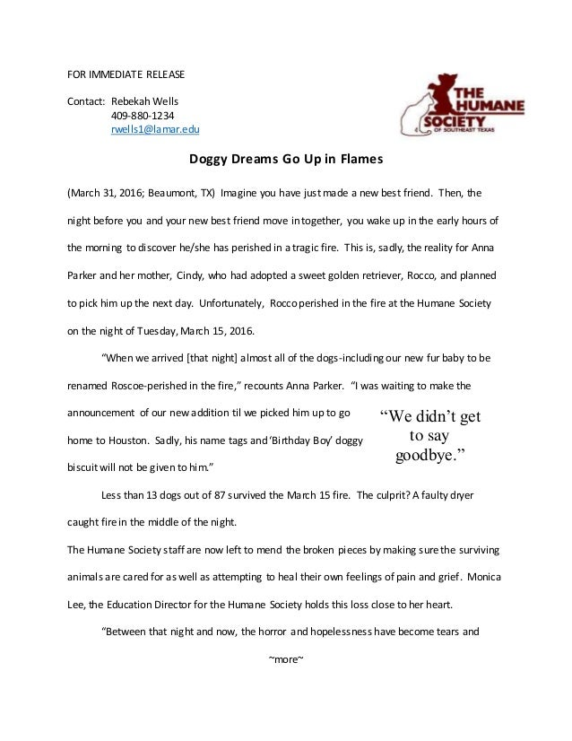 FOR IMMEDIATE RELEASE Contact: Rebekah Wells 409-880-1234 rwells1@lamar.edu Doggy Dreams Go Up in Flames (March 31, 2016; ...