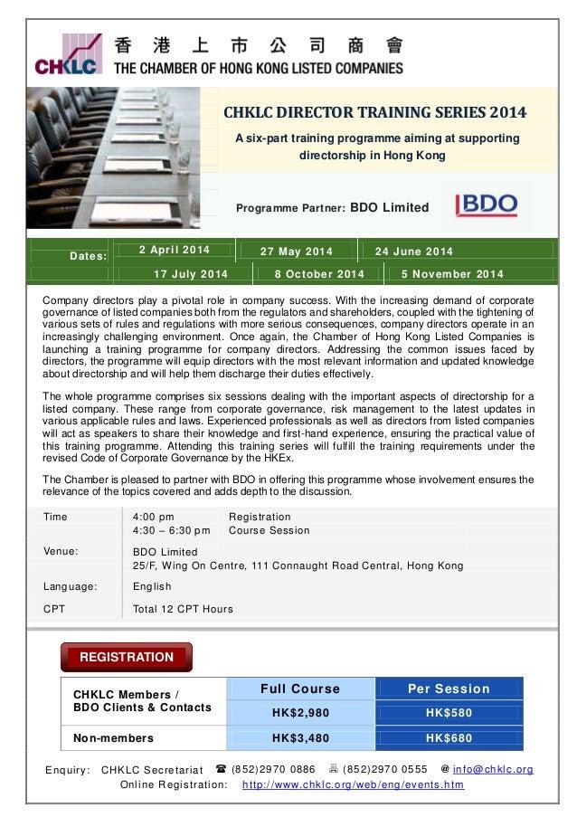 CCHHKKLLCC DDIIRREECCTTOORR TTRRAAIINNIINNGG SSEERRIIEESS 22001144 A six-part training programme aiming at supporting dire...