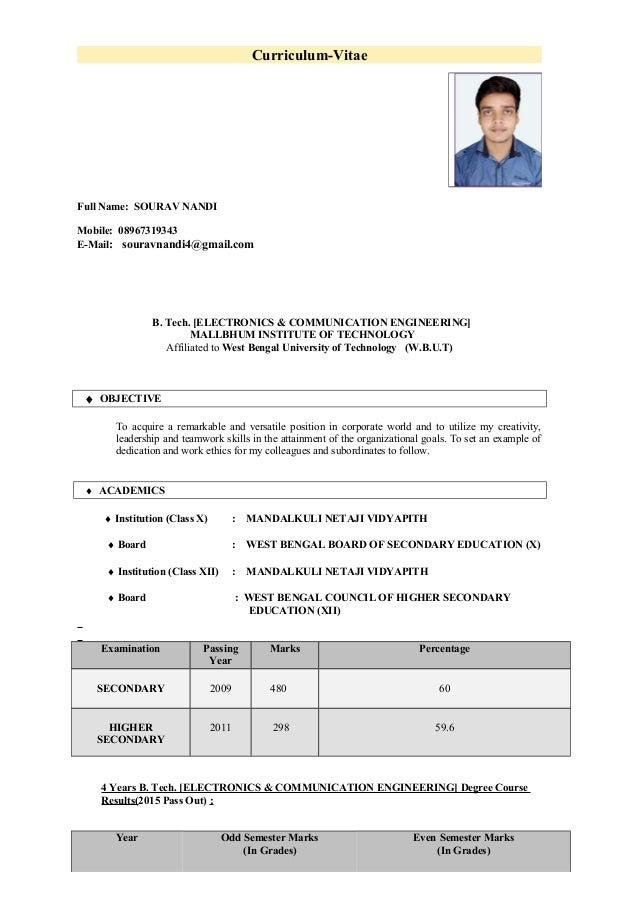 Curriculum-Vitae Full Name: SOURAV NANDI Mobile: 08967319343 E-Mail: souravnandi4@gmail.com B. Tech. [ELECTRONICS & COMMUN...