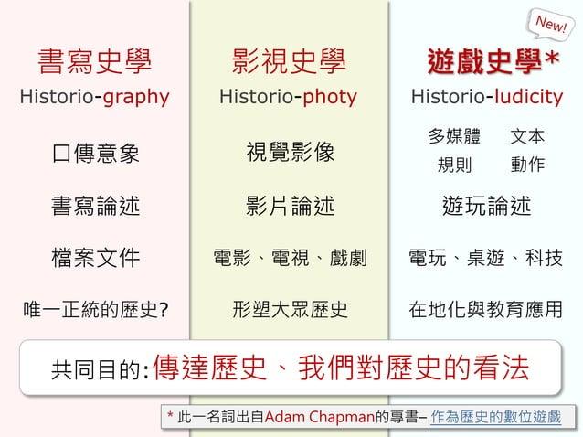 書寫史學 影視史學 遊戲史學* Historio-graphy Historio-photy Historio-ludicity 共同目的:傳達歷史、我們對歷史的看法 口傳意象 書寫論述 唯一正統的歷史? 視覺影像 影片論述 電影、電視、戲劇檔...