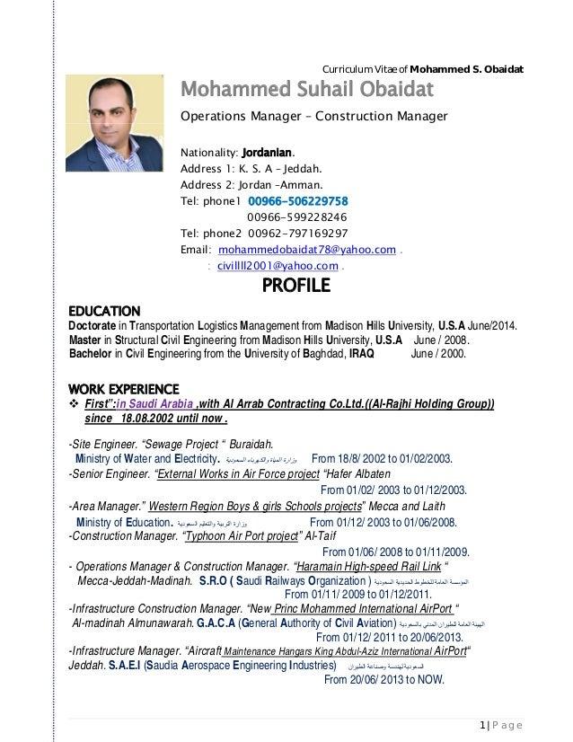 Mohammed Obaidat Cv New Pdf