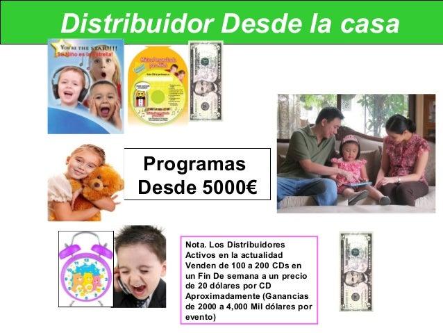 Distribuidor Desde la casa Programas Desde 5000€ Nota. Los Distribuidores Activos en la actualidad Venden de 100 a 200 CDs...