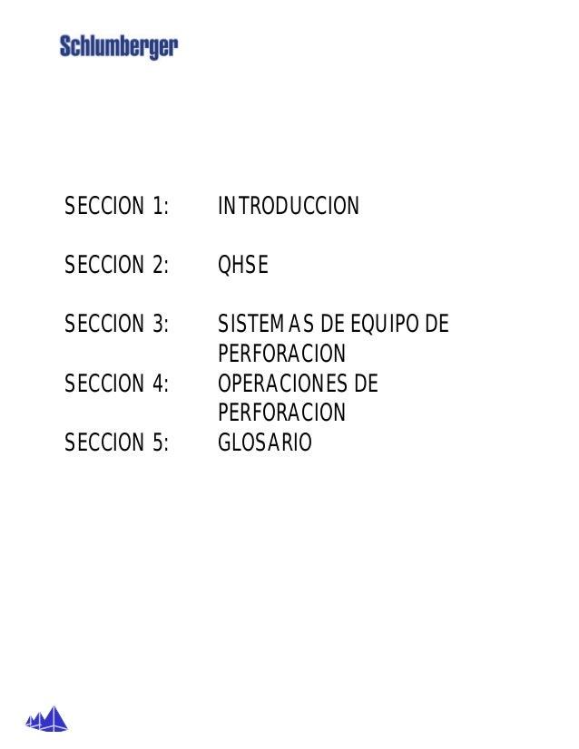 SECCION 1: INTRODUCCION SECCION 2: QHSE SECCION 3: SISTEMAS DE EQUIPO DE PERFORACION SECCION 4: OPERACIONES DE PERFORACION...